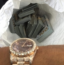 money, green, dollars, gold, watch, rich