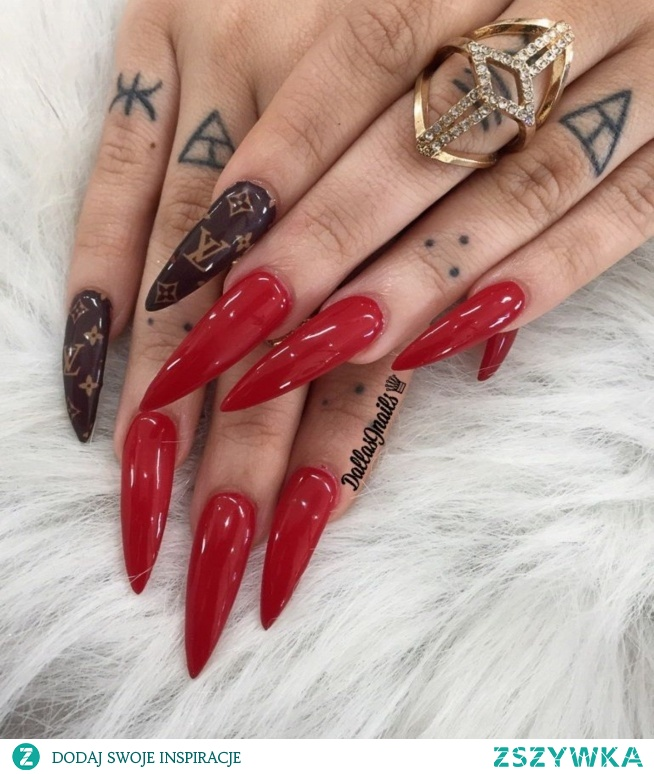 red, long, nails, LV, tatto