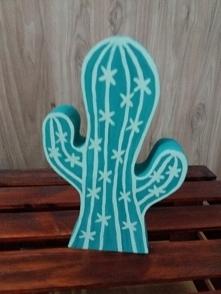 kaktus ozdoba na półkę handmade