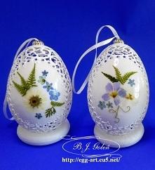 Ażurowe pisanki i suszone polne kwiaty - pomysł i wykonanie Bogusława Justyna...