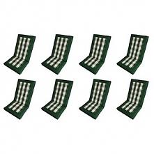 Poduszki na krzesła składane PREMIUM - kolor biało-zielona krata (8szt)