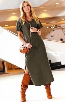 Sukienka maxi khaki M464 Makadamia