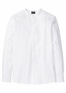 Koszula z długim rękawem i stójką Slim Fit bonprix biały