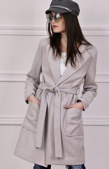 Wiązany płaszcz wiosenny szary Roco 007