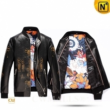 Custom Leather Jacket & Leather Backpack | CWMALLS® Madrid Men Printed Le...