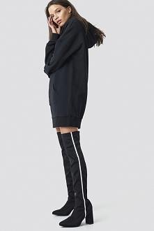 Linn Ahlborg x NA-KD Striped Overknee Boots - Black