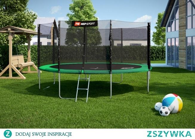 Bardzo duża trampolina ogrodowa z siatką, rozmiar 14 ft. Sprawdź cenę i inne trampoliny na hop-sport.pl