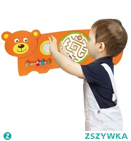 Sensoryczna tablica manipulacyjna Miś zaprojektowana przez cenionego producenta zabawek drewnianych dla dzieci firmę Viga Toys. zabawka przeznaczona do domu i przedszkola dla dzieci od 18 miesiąca.