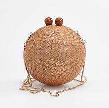 Okrągła torebka na łańcuszku - Beżowy