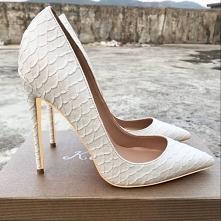 Piękne Białe Przypadkowy Czółenka 2019 Drukuj Wężowej 12 cm Szpilki Szpiczaste Czółenka