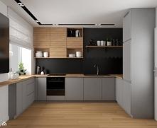 Szara kuchnia z drewnianym blatem i czarną tablicówką :) Po więcej inspiracji zapraszamy na nasz fanpage @vinsokuchnie