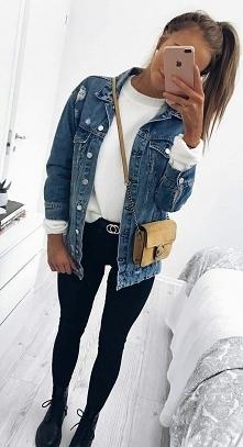 Wiosenna stylówka z jeansow...