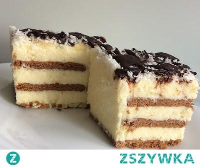 KOKOSOWE Składniki: (na foremkę o wymiarach 14 cm x 28 cm x 7 cm) 2 szklanki wiórków kokosowych  250 g masła  2 budynie śmietankowe lub waniliowe (80 g)  1 szklanka cukru  750 ml mleka  2 żółtka  250 g herbatników kakaowych  wiórki kokosowe i płatki migdałowe do posypania  Polewa: 1/2 tabliczki czekolady deserowej  1 łyżka mleka  2 łyżki masła  1 łyżeczka miodu naturalnego  Składniki odmierzam: szklanka - 250 ml, łyżka - 15 ml, łyżeczka - 5 ml *Osoby na diecie bezglutenowej powinny użyć herbatniki bez glutenu. Przygotowanie ciasta kokosowego bez pieczenia: Żółtka roztrzepać i połączyć z rozmieszanym w 100 ml mleka budyniem.  Pozostałe mleko zagotować z cukrem, dodać wiórki kokosowe i gotować, aż masa zacznie lekko gęstnieć. Do gęstniejącej masy dodać budyń rozmieszany z jajkami i ciągle mieszając zagotować, aby powstała gęsta masa budyniowa. Masę wystudzić. Ciasto jest niezbyt słodkie, jeśli lubimy bardzo słodkie dodać więcej cukru.   Masło zmiksować do puszystej konsystencji i nadal miksując dodawać po łyżce  zimnej masy budyniowej z wiórkami.  Dno foremki wyłożyć herbatnikami, na których rozsmarować 1/3 część kremu i przykryć drugą warstwą herbatników i rozsmarować na nich drugą część kremu i znów warstwa herbatników i na koniec krem.  Wierzch obsypać płatkami migdałowymi i wiórkami kokosowymi, docisnąć je lekko łyżeczką do kremu.  Opcjonalnie ciasto można polać cienkimi smugami polewy, chociaż bardzo dobrze smakuje i bez niej.  Składniki polewy rozpuścić w misce na garnku z wrzącą wodą do uzyskania jednolitej konsystencji (ciągle mieszać). Ciasto wstawić do lodówki na co najmniej 12 godzin, aby zmiękły nieco herbatniki.