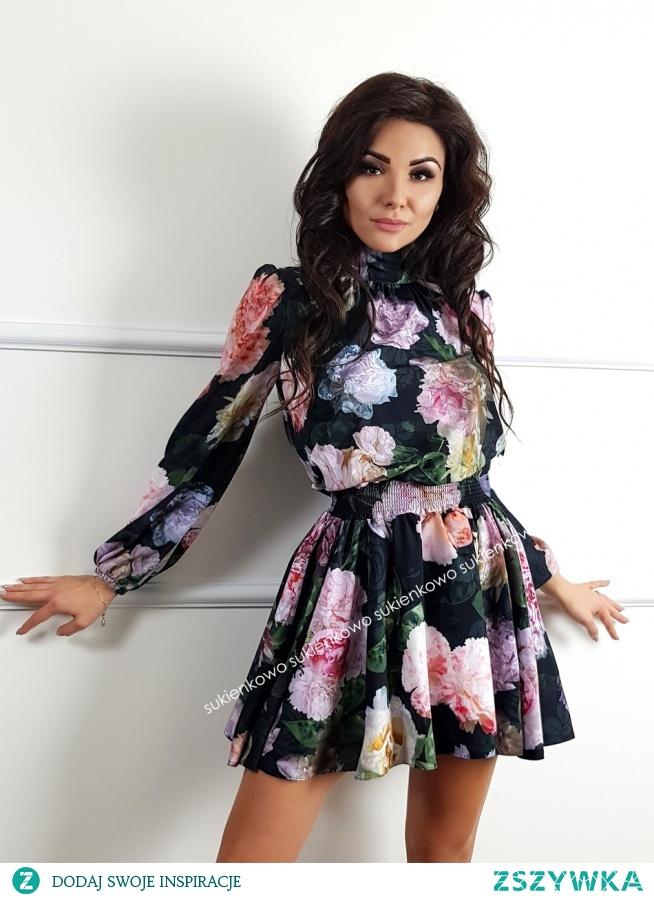 Kliknij w zdjęcie by przejść do produktu sukienkowo.com  GLORIA - Luksusowa rozkloszowana sukeinka w pastelowe kwiaty