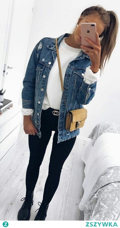 Wiosenna stylówka z jeansową kurtką