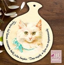 """Deska - podstawka ceramiczna z kotkiem """"Tysiące lat temu czczono koty ja..."""