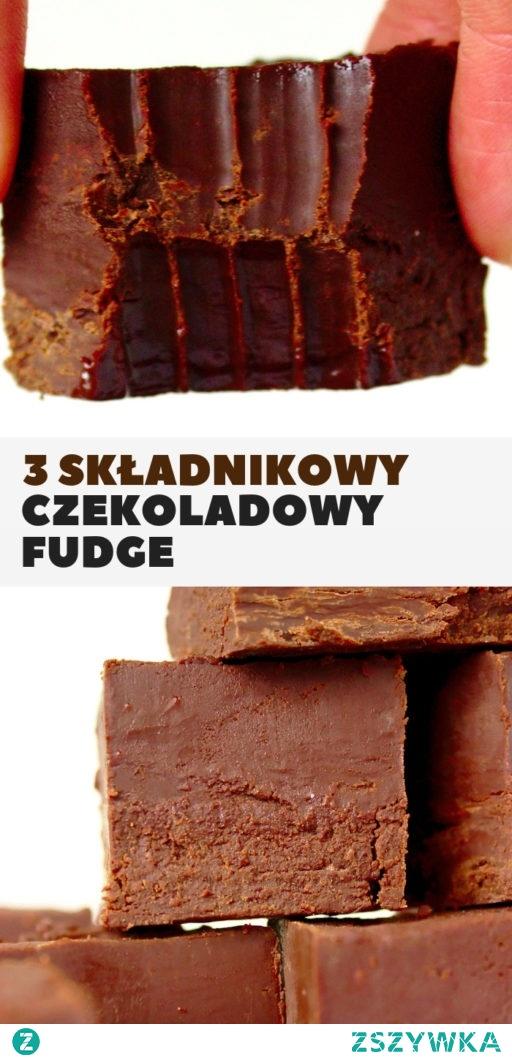 Czekoladowy fudge z 3 składników. Tylko czekolada masło i mleko skondensowane, rozpływa się w ustach.