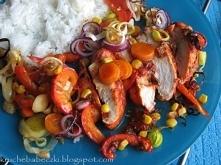 Kurczak pomidorowy z warzywami i ryżem ;)
