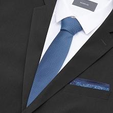 Krawat i poszetka - Granatowy