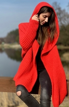 SUE długi, koralowy sweter ...
