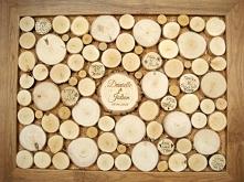 fantastyczna, alternatywna księga gości z plastrów drewna, pamiątka na lata, styl eko, projekt i wykonanie JOT STUDIO