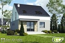 Mazurek II to projekt niedużego, nowoczesnego i wygodnego domu jednorodzinnego. Projekt został wykonany ze szczególnym uwzględnieniem walorów ekonomicznych... Widok ogrodowy.