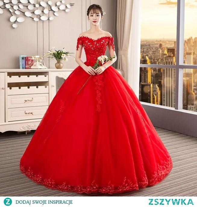 Piękne Czerwone Suknie Ślubne 2019 Suknia Balowa Przy Ramieniu Frezowanie Kryształ Cekiny Z Koronki Kwiat Bez Rękawów Bez Pleców Trenem Katedra