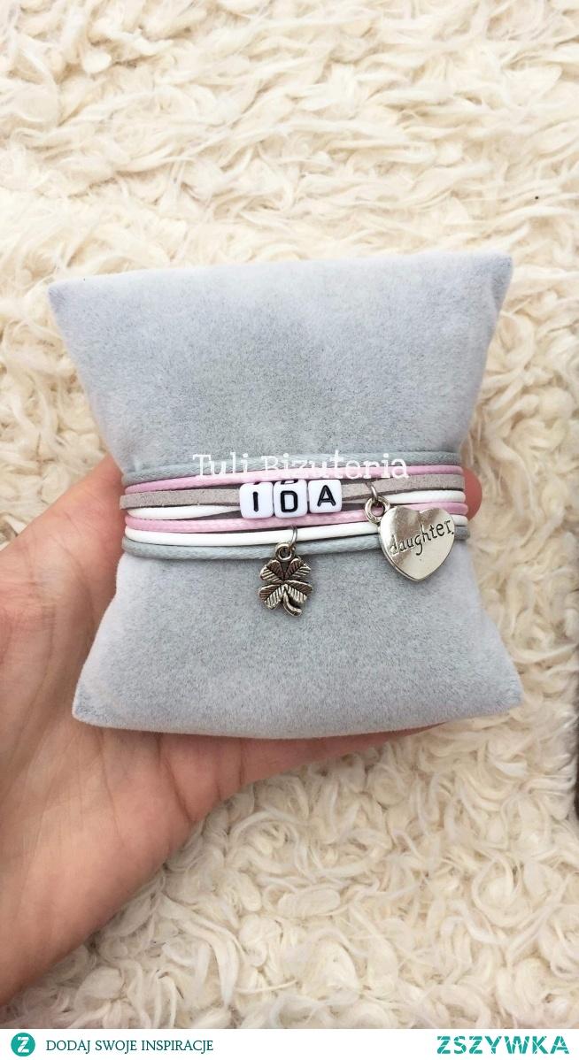 Bransoletka z imieniem dziecka, męża,partnera lub dowolnym napisem, więcej wzorów i kolorów do wyboru na Facebook Tuli Biżuteria
