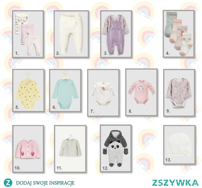 zestaw ubrań dla noworodka na dzień - dziewczynka