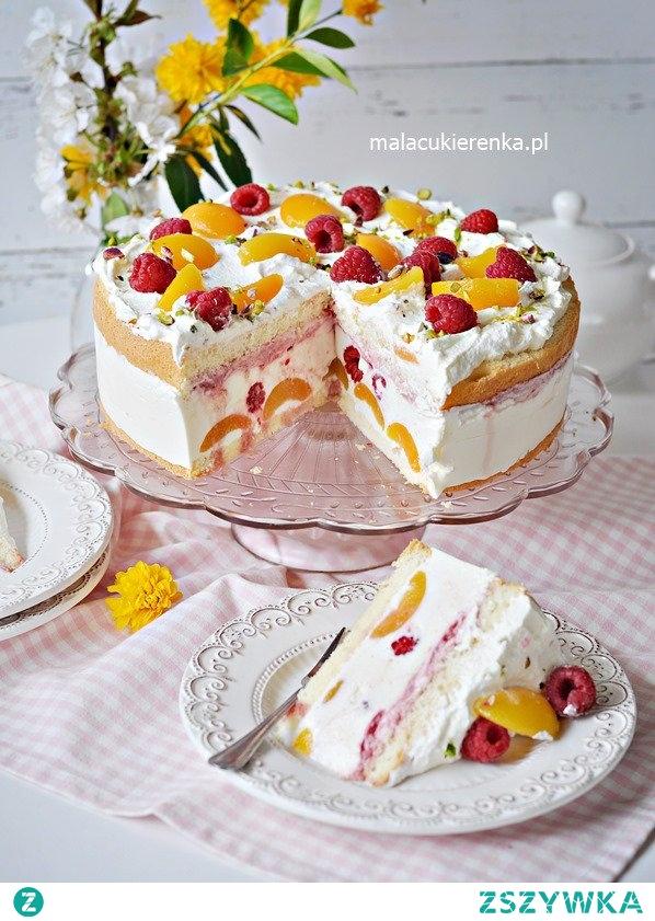 Pyszny Tort Jogurtowy z Malinami i Morelami. Przepis po kliknięciu w zdjęcie.