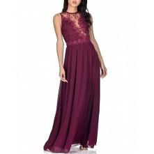 Bordowa długa szyfonowa sukienka dla świadkowej z koronkową górą