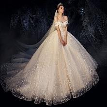 Romantyczny Szampan Suknie Ślubne 2019