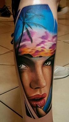 twarz tatuaż