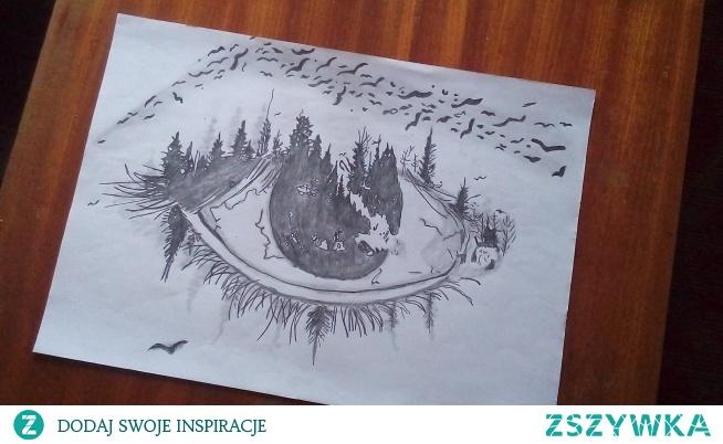 Artystyczny rysunek oka.