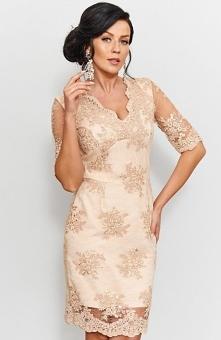 Beżowa koronkowa sukienka Roco 153