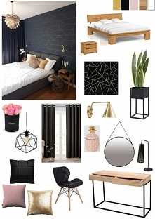 Moodbord - sypialnia w czerni i złocie