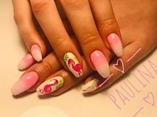 Flamingi na paznokciach  zw...