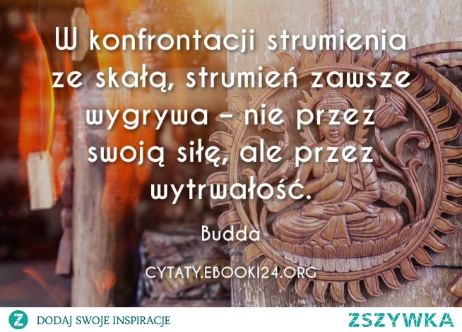 W konfrontacji strumienia ze skałą, strumień zawsze wygrywa – nie przez swoją siłę, ale przez wytrwałość.  - Budda