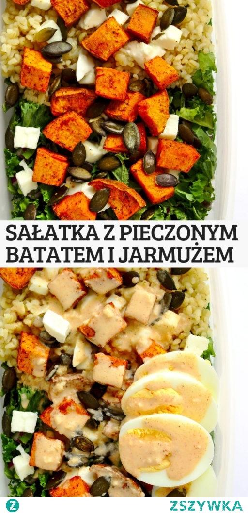 Sałatka z pieczonym batatem i jarmużem