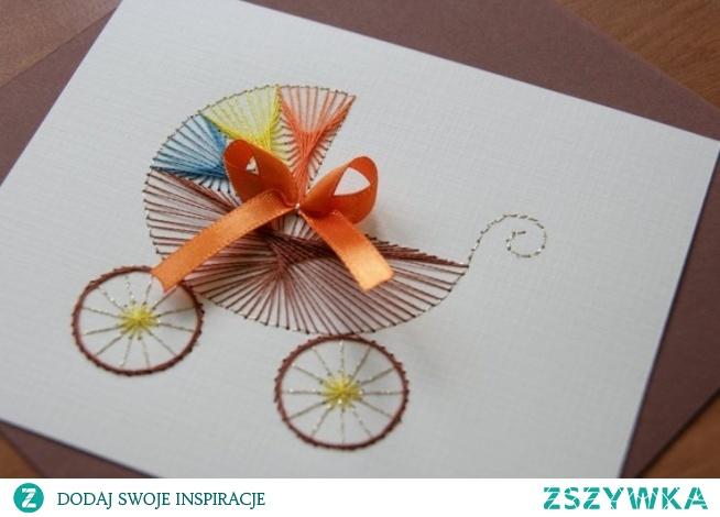 Ręcznie wykonana kartka metodą haftu matematycznego