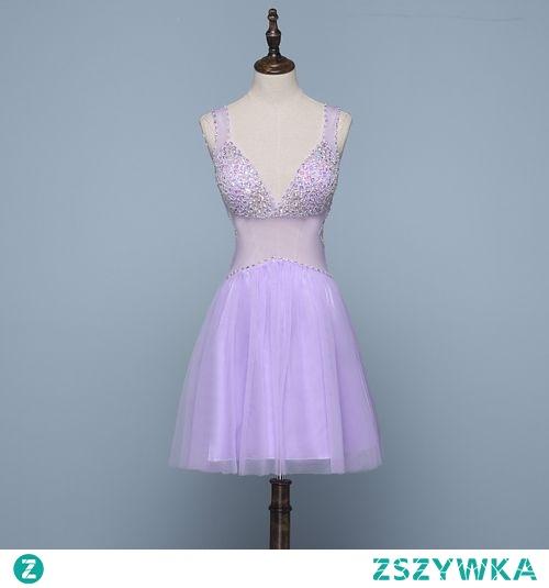 Seksowne Lawenda Sukienki Koktajlowe 2019 Princessa V-Szyja Frezowanie Rhinestone Bez Rękawów Bez Pleców Krótkie Sukienki Wizytowe