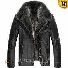 Fur Trim Shearling Leather Jacket CW890101 | CWMALLS.COM