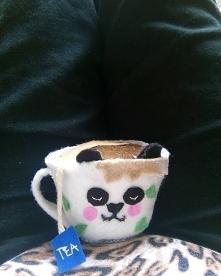 filiżanka panda,filc,moje wykonanie