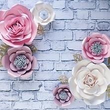 Śiana z kwiatów, Kwiaty 3 d na ścianę, papaierowe kwiaty, róże na ścianę, dek...