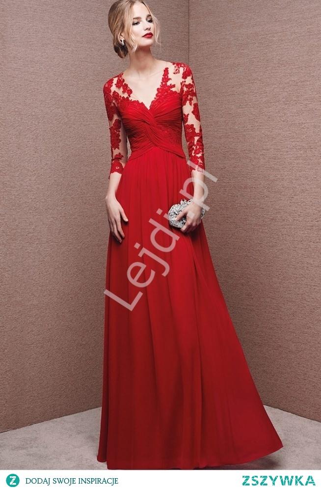 Długa czerwona szyfonowa suknia wieczorowa. Pięknie marszczona na biuście. Zdobiona koronką. Plecy podkreślone guziczkami. lejdi.pl