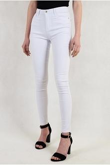 Białe spodnie z wysokim sta...