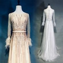 High-end Champagne Evening Dresses 2019 A-Line / Princess Scoop Neck Handmade Beading Rhinestone Sash Long Sleeve Feather Floor-Length / Long Formal Dresses