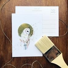 pocztówka ilustracja sowa