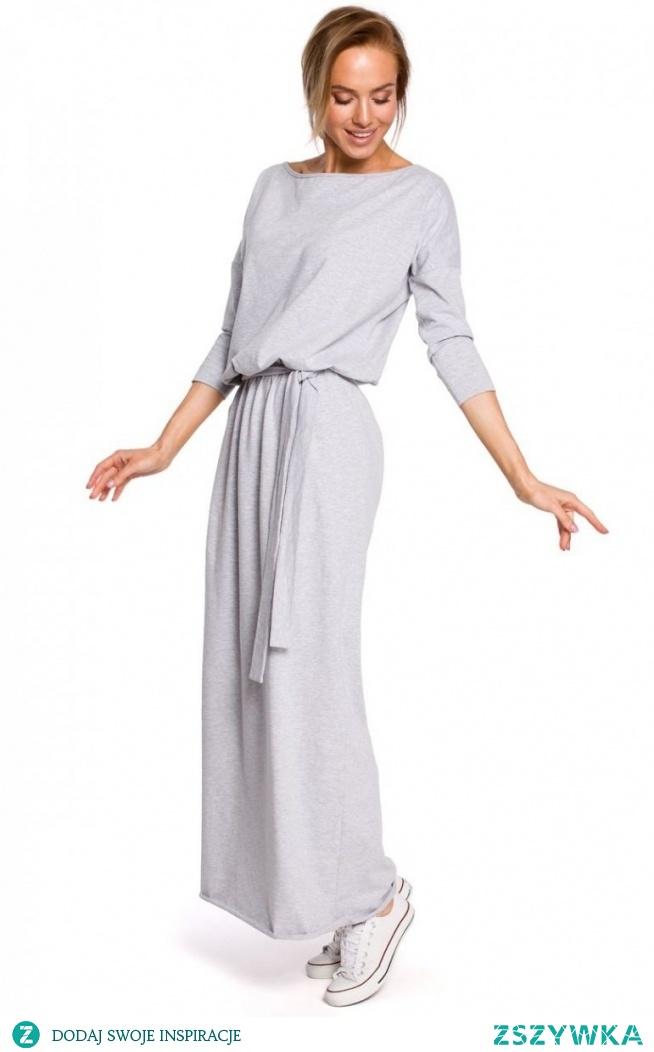 Moe sportowa długa sukienka szara M435