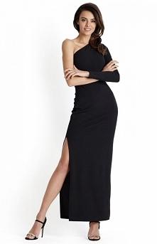 IVON czarna długa sukienka ...